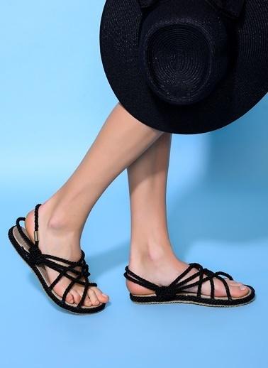 Loves You Hasır Sandalet Siyah